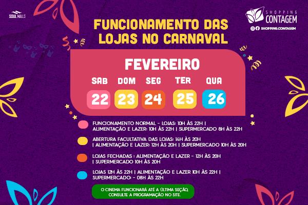 Horário de Funcionamento no Carnaval