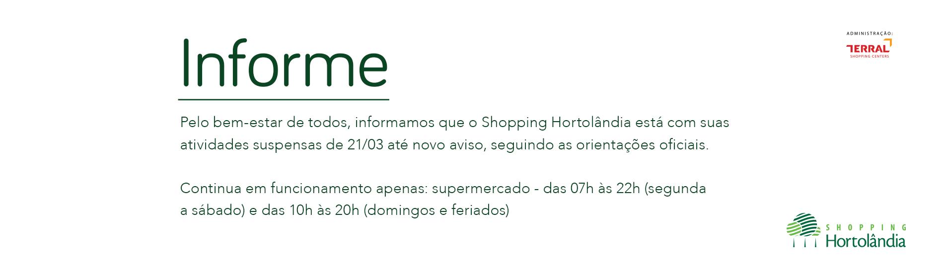 Comunicado Oficial: Funcionamento do Shopping
